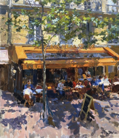 «View of the Parisian cafe from hotel window»; 71x61; 2006.