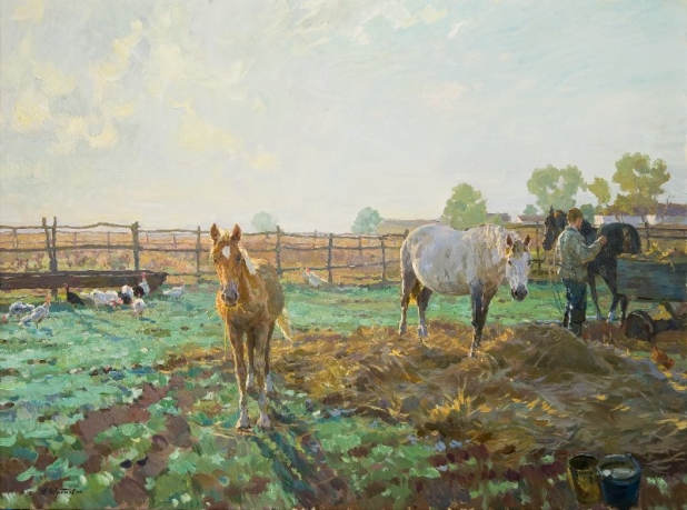 «Kuban morning»; 110х150; Oil on canvas; 2012.