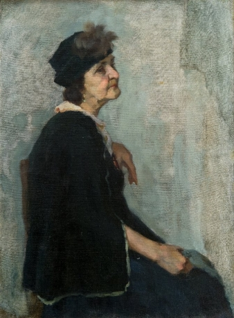 «Portrait of an elderly lady. Educational setting in MAAS»; 78х57; oil on canvas; 1981.