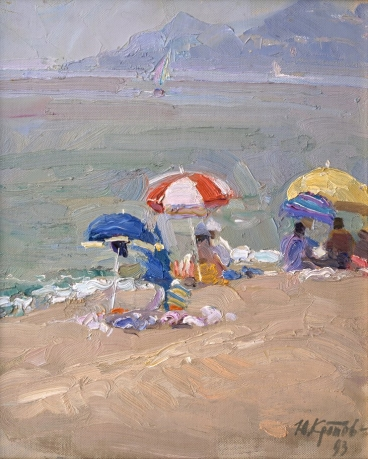 «Seaside umbrellas»; 33х24; oil on canvas; 1993.