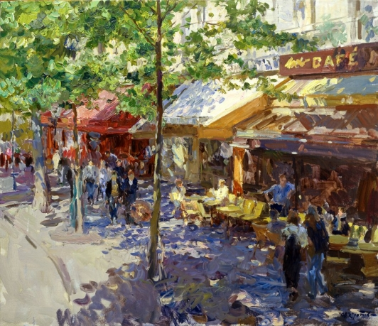 «Cafe on the Boulevard Haussmann»; 61x71; oil on canvas; 2004.
