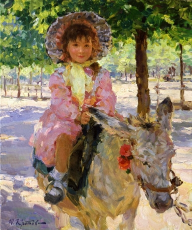 «A girl on the donkey»; 55х46; oil on canvas; 2000.