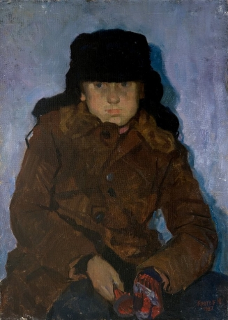 «boy in a cap ″Usanka″»; 79х57; oil on canvas; 1982.